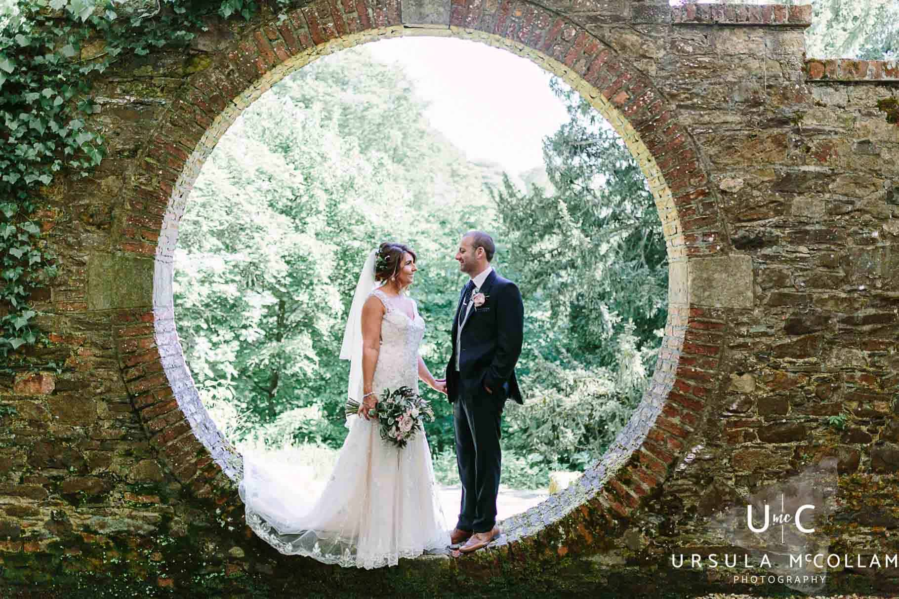 Bride and groom in the moon garden at Drenagh