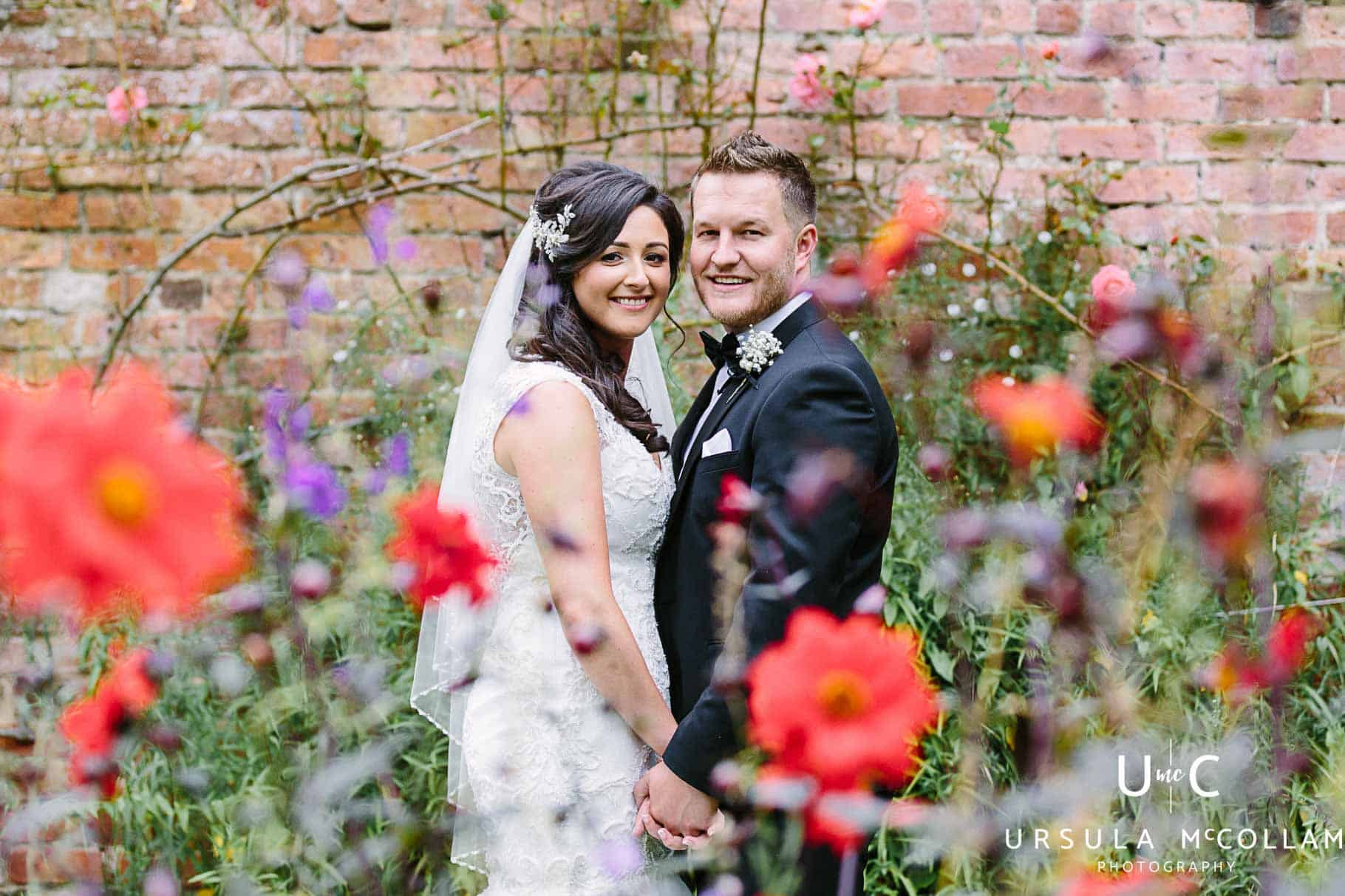 Bride and groom in Ballyscullion Park