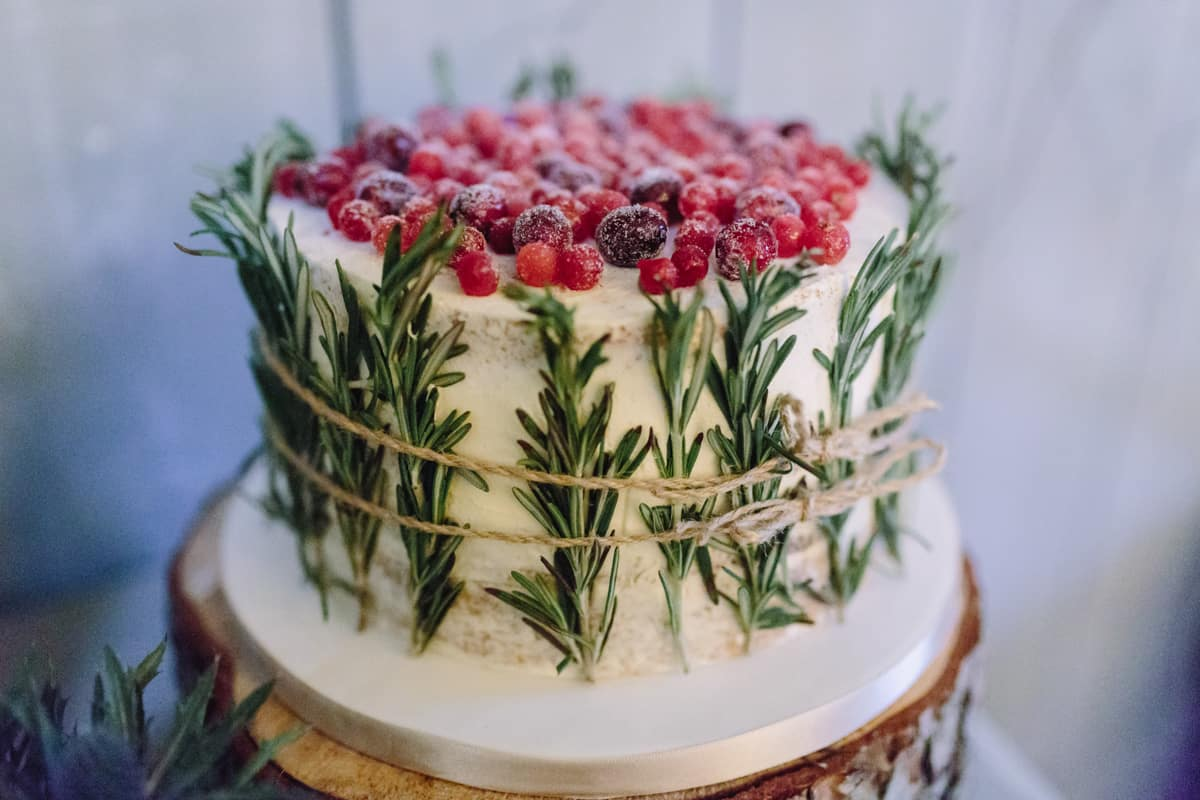 wedding cake with rosemary