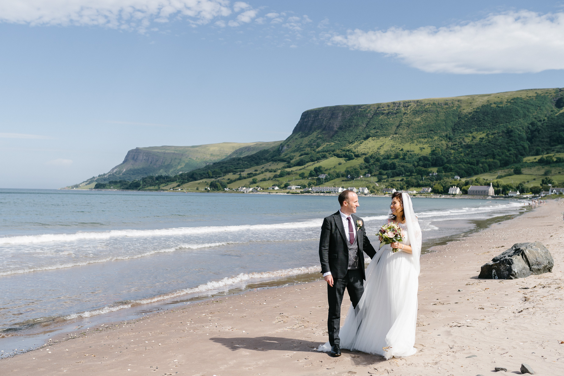 Glenariffe beach bride and groom